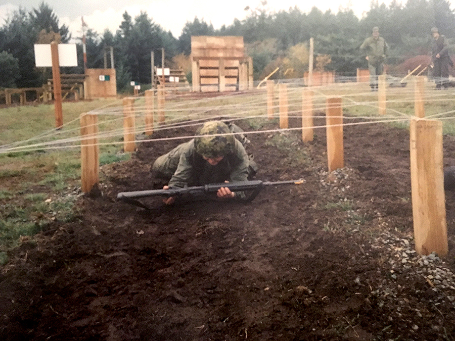 Sergeant Cheryl Crispin (then a Private) completing an exercise during her Basic Military Qualification course in Esquimalt, British Columbia in 2004 Photo: provided by Sergeant Cheryl Crispin, National Defence Quality Assurance Region (Vancouver).
