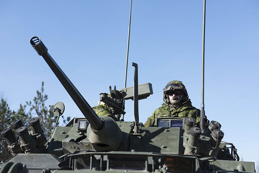 Soldiers from 4 Engineer Support Regiment, which has now joined the ranks of the Canadian Combat Support Brigade, use specialized vehicles to conduct Expedient Route-Opening Capability and Explosive Ordnance Disposal training in 2017 during Exercise NIHLO SAPPER in the Blue Mountain region of Cape Breton in Nova Scotia. © DND/MND 2017