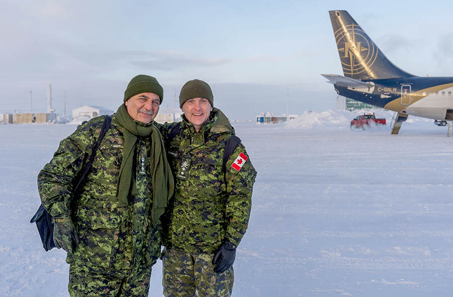 Honorary Colonel of the Canadian Army Paul Hindo, along with Major General Simon Heatherington, recently visited the Canadian Armed Forces' Arctic Training Centre. Photo: Corporal Jennifer Kusche, Canadian Forces Combat Camera. ©2018 DND/MDN Canada.