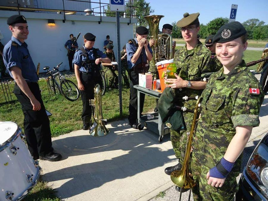 Corporal Samantha Rohringer on her trombone qualification course in Canadian Forces Base Borden during the summer of 2013. Before her qualification, she was required to complete basic training in Winnipeg. Photo: provided by Corporal Samantha Rohringer, Royal Winnipeg Rifles.