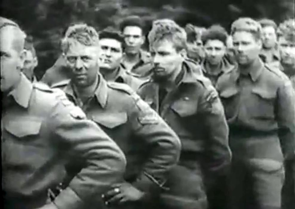 A still image taken from a German newsreel shows Francis William Godon (far right). The Métis soldier survived D-Day but spent 11 months as a prisoner of war. Photo: Provided by the Godon family.