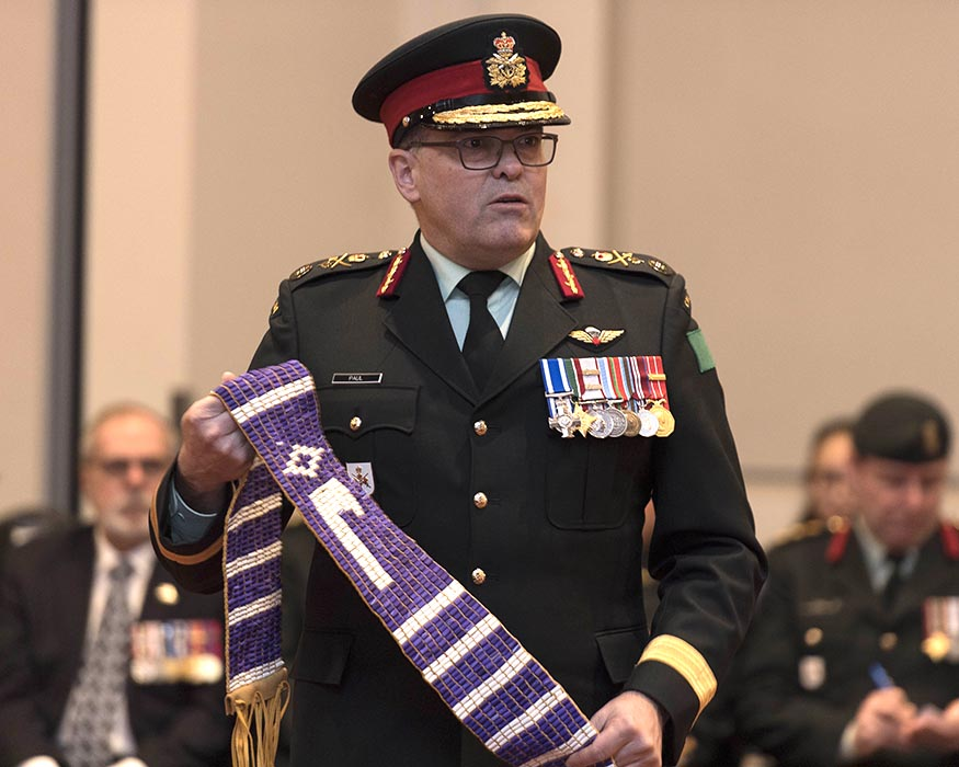 Brigadier-General Jocelyn Paul, Commander of the Canadian Army's 4th Canadian Division, who is the highest-ranking Indigenous officer in the Canadian Armed Forces, attends Le Régiment de la Chaudière's event in Saint-Georges de Beauce, Québec on March 9, 2019 to mark its 150th anniversary and new battle honours that recognize Indigenous Peoples' military service to the Regiment and to Canada. Photo: Private Kevin Turgeon, Valcartier Imaging Services. ©2019 DND/MDN Canada.