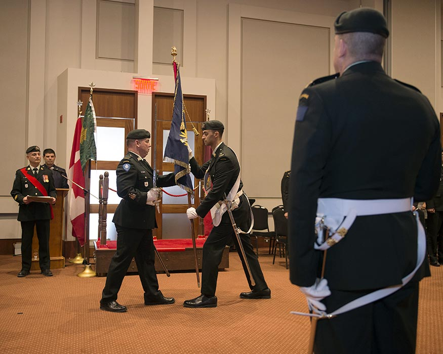 Le Régiment de la Chaudière of Levi, Québec received three new battle honours in a ceremony on March 9, 2019 in Saint-Georges de Beauce, Québec for service in Afghanistan, the War of 1812, and in a very early battle between colonial forces that was victorious with help from Indigenous warriors in 1690. Photo: Private Kevin Turgeon, Valcartier Imaging Services. ©2019 DND/MDN Canada.