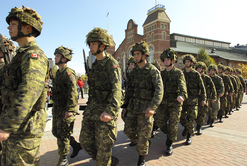 Reservists from the Cameron Highlanders of Ottawa march past the Cartier Square Drill Hall during a ceremonial Freedom of the City parade in downtown Ottawa wearing the Temperate Woodland version of Canadian Disruptive Pattern (CADPAT). A project underway since February 2019 may result in a replacement for CADPAT. Photo: Sgt Frank Hudec, Army News Ottawa. ©2006 DND/MDN Canada.