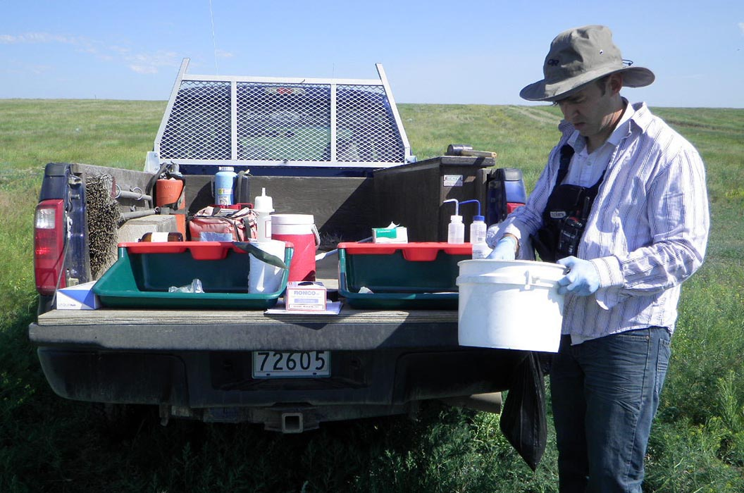 Reclamation Biologist Corey Davidson tests soil for contaminates in the back of his mobile office and laboratory, also known as a pickup truck, in the Range and Training Area of Canadian Forces Base Suffield in Alberta in July, 2014. Photo: provided by Corey Davidson.