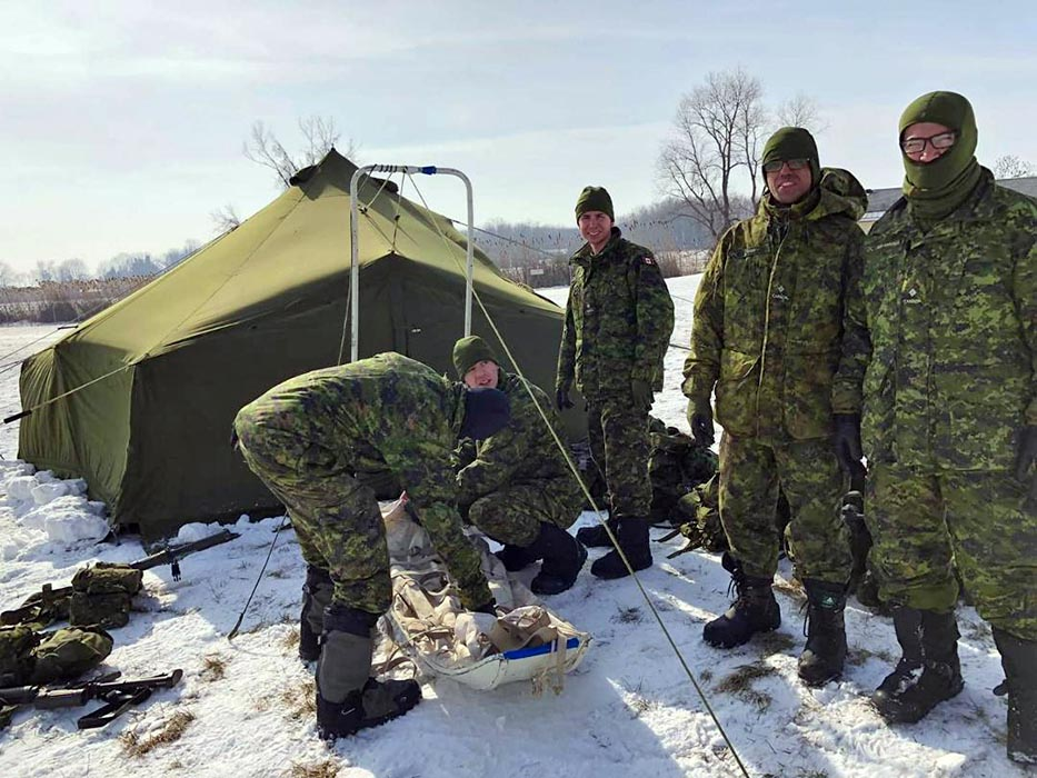Second-Lieutenant Juan Guillermo Rios Arrubla (second from right)  and fellow recruits participate in a Basic Military Qualification (BMQ) course run by 31 Canadian Brigade Group Battle School in London, Ontario in February 2019. Photo: Provided by Second-Lieutenant Juan Guillermo Rios Arrubla.