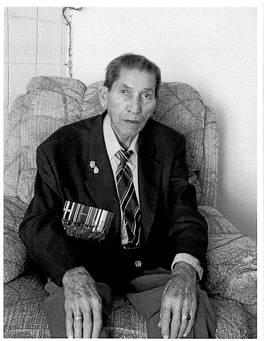 Corporal (Retired) Charles (Checker) Tomkins at age 85 in 2003. He was one of the few known Cree Code Talkers who used the Cree language to create a secret code that may very well have turned the tide of the Second World War in favour of the Allies.  Photo: Courtesy of Adele Laderoute.