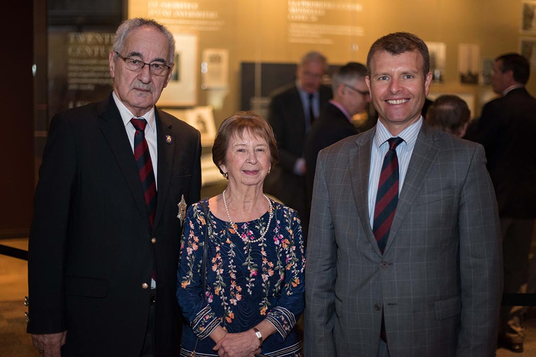 Master Warrant Officer (Retired) Martin Lane and Estelle Lane, co-curators of the Governor General's Foot Guards Regimental Museum, and Governor General's Foot Guards (GGFG) Commanding Officer Lieutenant-Colonel Chris Lynam with a display of Victoria Crosses awarded to Canadians for bravery during the Battle of Hill 70. The collection was unveiled at the Canadian War Museum on March 26, 2019 and includes the Victoria Cross won by the GGFG's Acting Major Okill Massey Learmonth.  Photo: Jay Rankin, Army Public Affairs. ©2019 DND/MDN Canada.