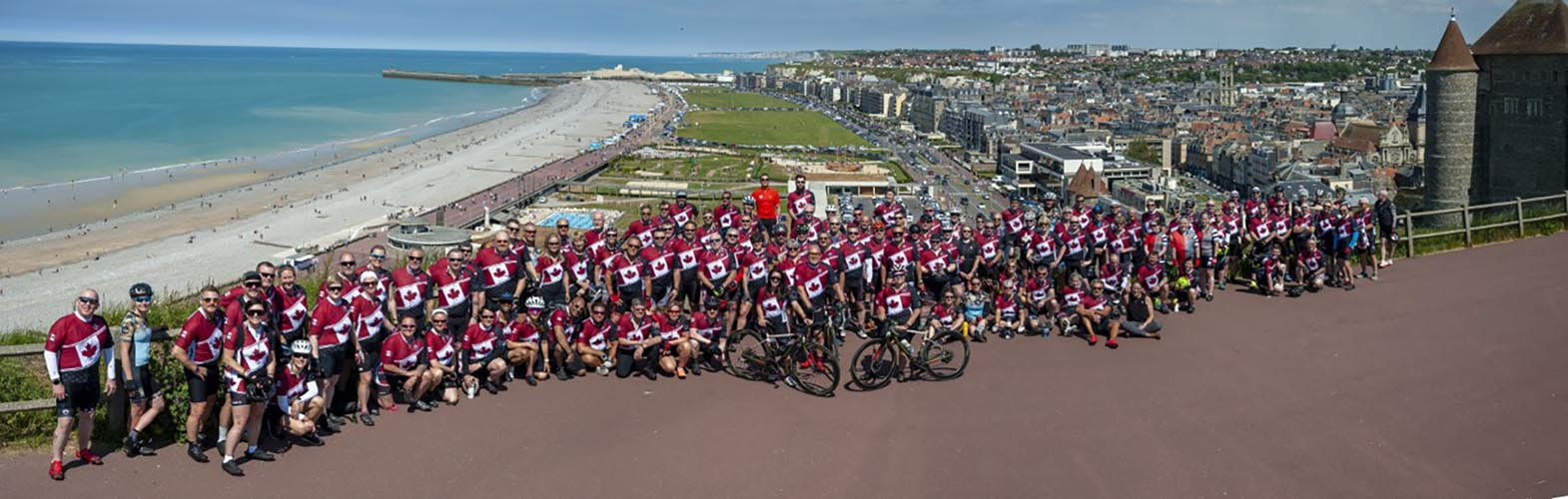 A panoramic view of the Wounded Warriors Canada's Battlefield Bike Ride 2019 team on the beach near the town of Dieppe, France. Photo: John's Photography, Sooke, BC