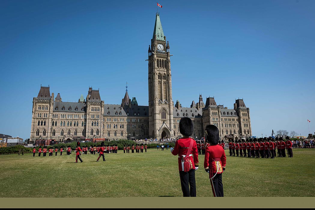 Members of the Ceremonial Guard perform the Changing of the Guard
