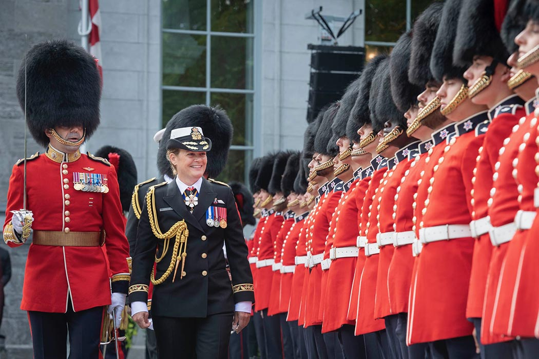 Her Excellency the Governor General of Canada, Julie Payette inspects the Ceremonial Guard at Rideau Hall on June 21, 2019.  Photo: Sergeant Johanie Maheu, Canadian Forces Support Unit (Ottawa). ©2019 DND/MDN Canada.
