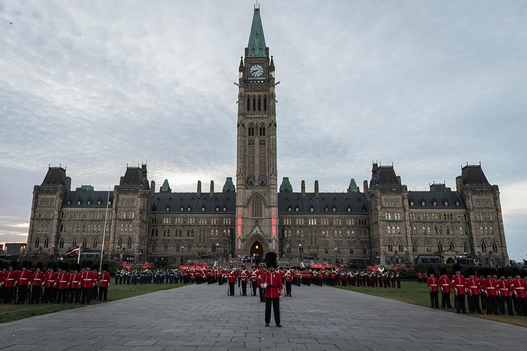 The Ceremonial Guard, the Ceremonial Guard Band and guest marching bands perform colourful drills and music on Parliament Hill during Fortissimo on July 18, 2019. Photo: Ordinary Seaman Alexandra Proulx, Army Public Affairs. ©2019 DND/MDN Canada.