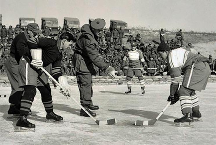 The puck drop at the original hockey game