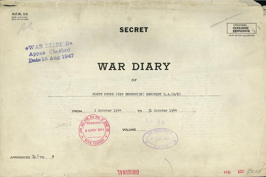 War Diary of the North Shore Regiment. Photo provided by Canadian Research and Mapping Association