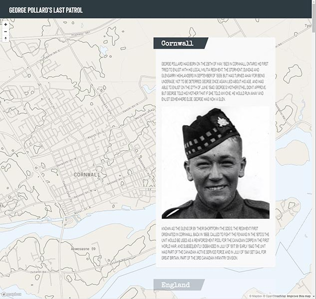 Story map of LCpl George Pollard. Photo provided by Canadian Research and Mapping Association
