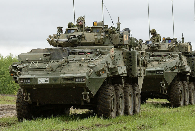 Canadian Light Armoured Vehicles Move In A Convoy In The Wainwright  Garrison Training Area During Exercise ...