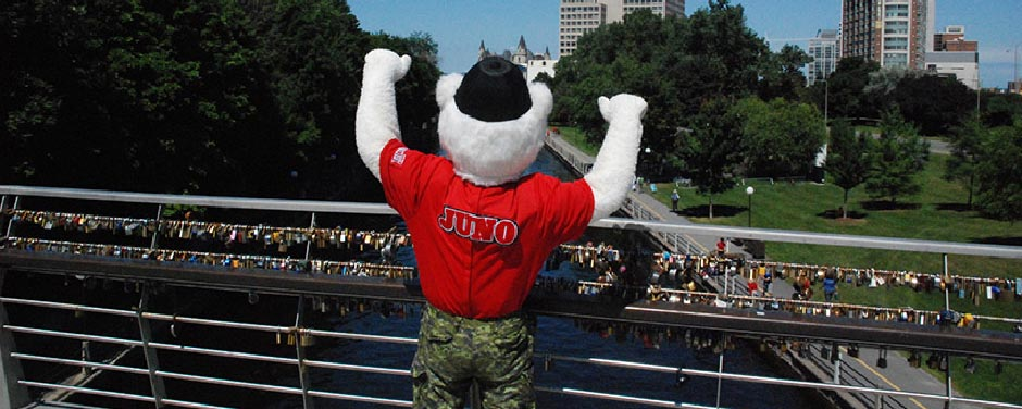 Slide - Juno takes time to enjoy the view of the Rideau Canal.