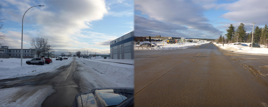Slide - The two photos show the effects of brined versus unbrined roads